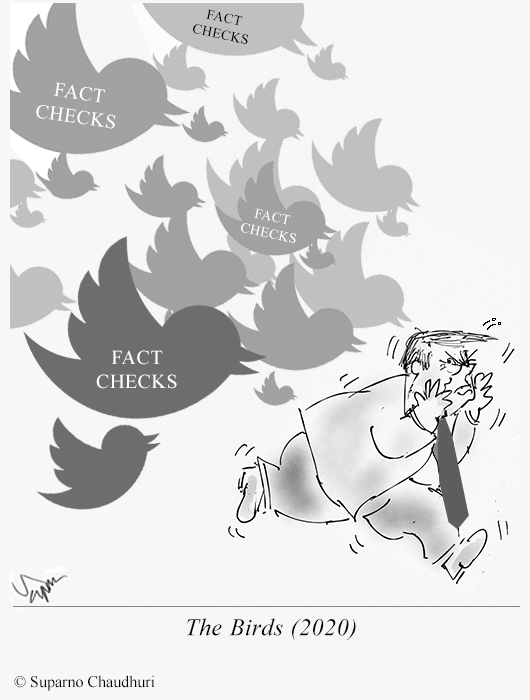 "Twitter Fact Checks Trump Cartoon - Remembering Hitchcock Classic ""The Bird"""