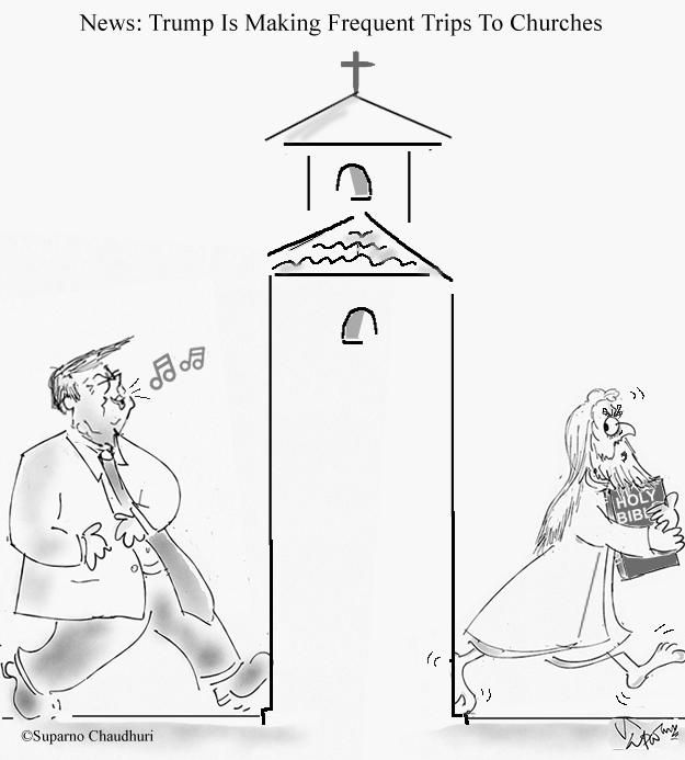 Trump Goes To Church Cartoon