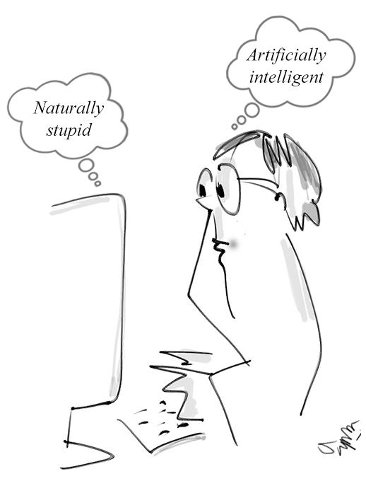 Artificial Intellidence (AI) Cartoon