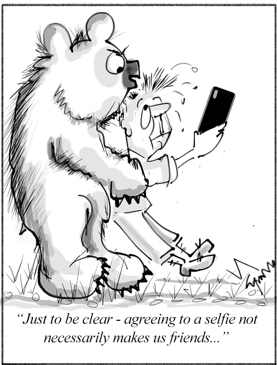 A Bear and A Man Pose for Selfie Cartoon