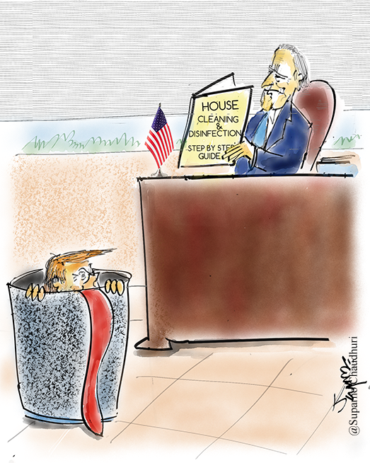 Biden Cleans Up White House Cartoon