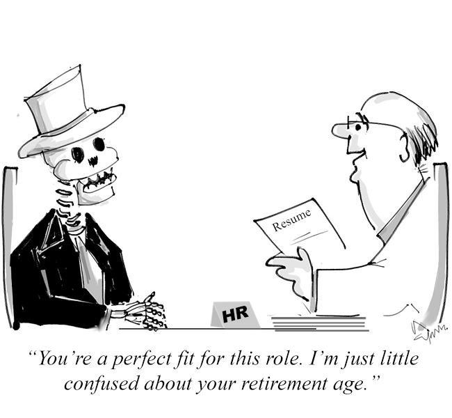 A ghost applies for a job cartoon