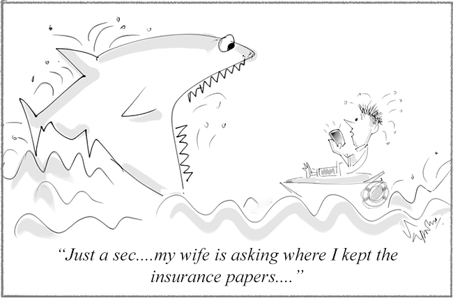 A man asks a shark to wait as he's answering his wife's phone on insurance paper