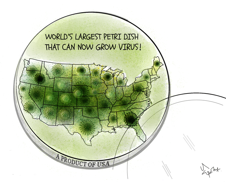 America Leads in COVID Infection Cartoon