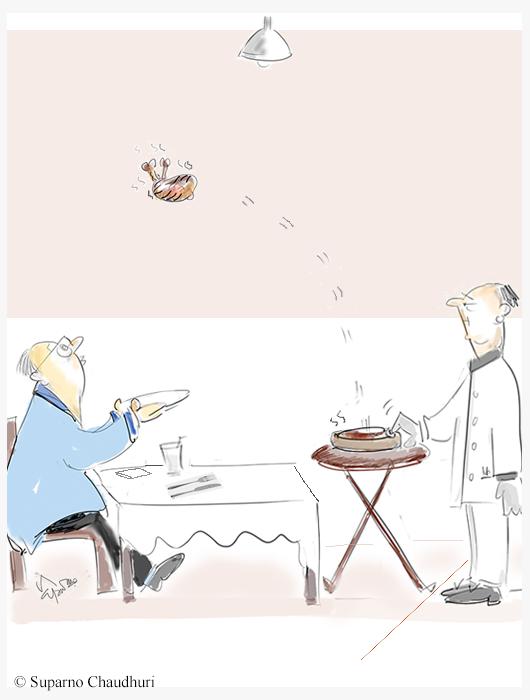 Restaurants Re-open With Distancing Cartoon