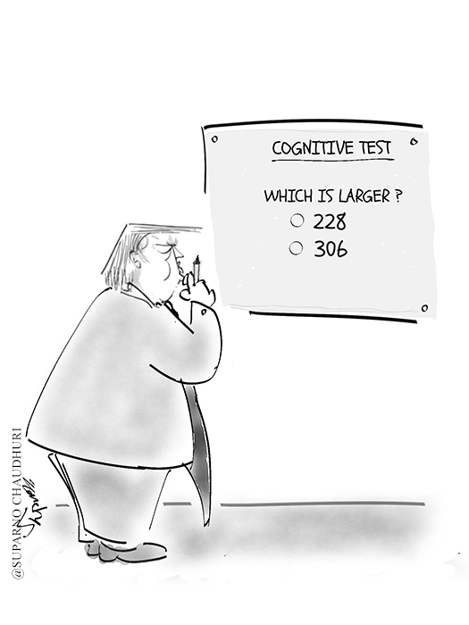 Trump takes another cognitive test on election results cartoon