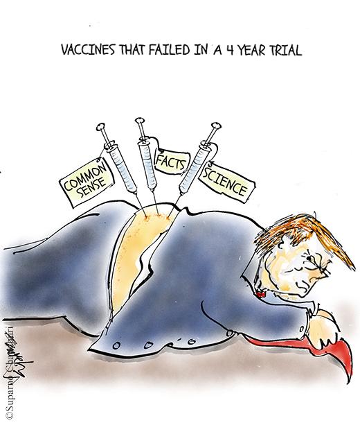 Trump and Failed Vaccine Cartoon