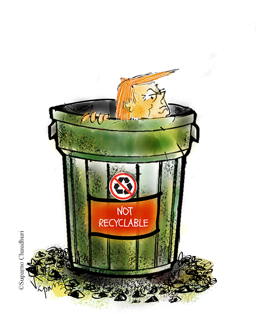 Trump cannot be recycled cartoon