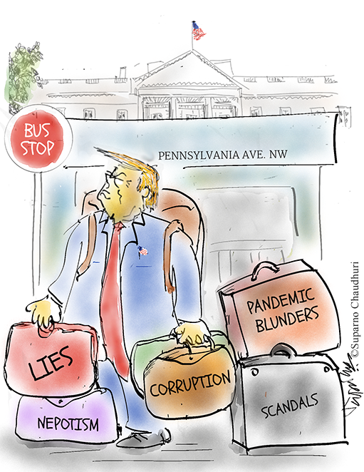 Trump leaves the White House on January 20 2021 Cartoon